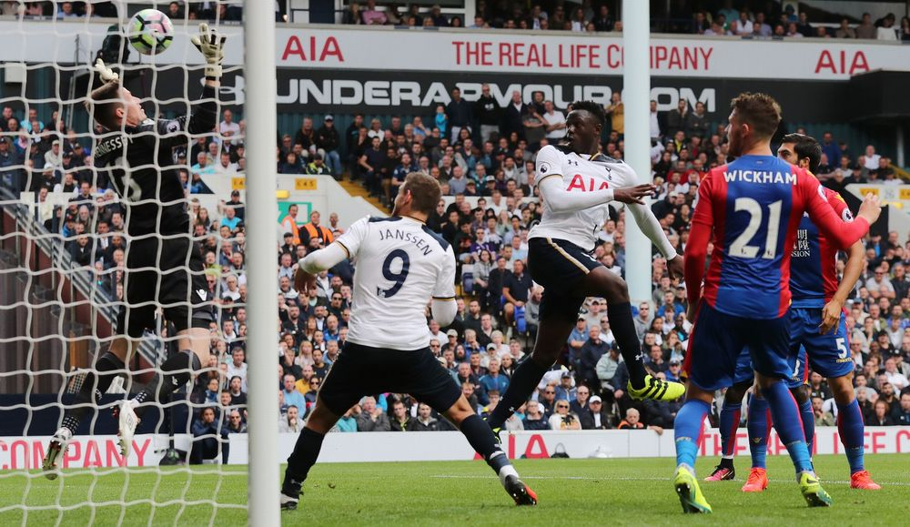 Wanyama guides his header past Hennessey to win it for Spurs. (Photo via Reuters)