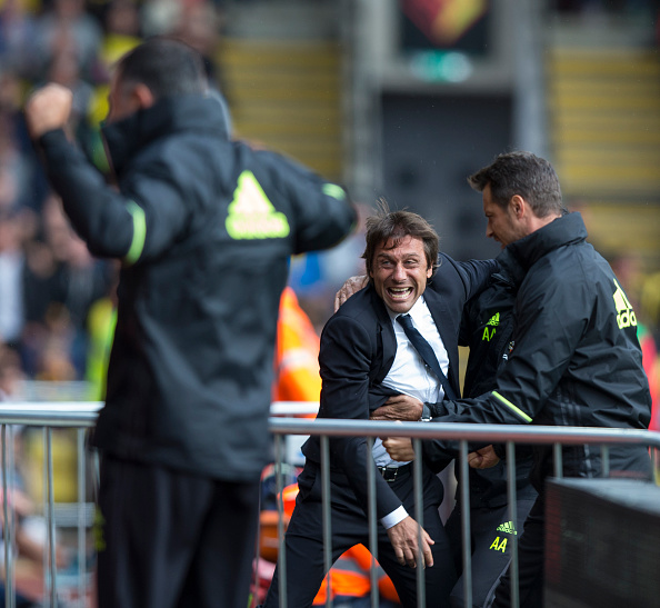 Antonio Conte can barely control himself as Diego Costa netted the 2nd successive winner in as many matches. (Photo by Craig Mercer - CameraSport/CameraSport via Getty Images)