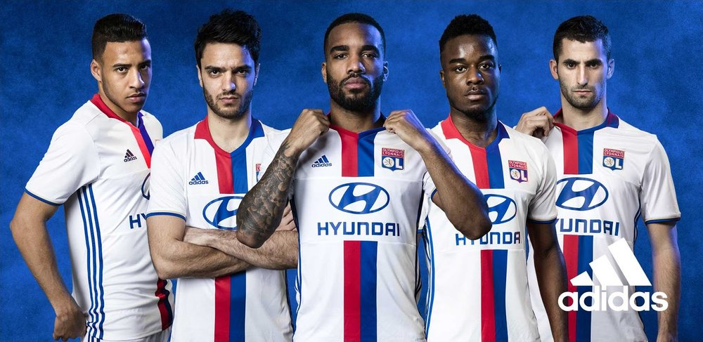 Lyon's players seeing how they fare in the new shirt.(Photo via  adidas )