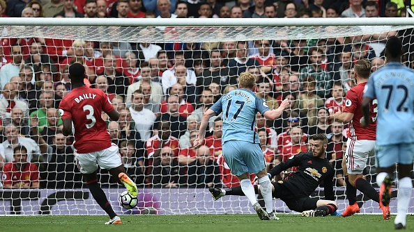 De Bruyne gives Man City the lead. (Photo by Oli Scarff/AFP/Getty Images)