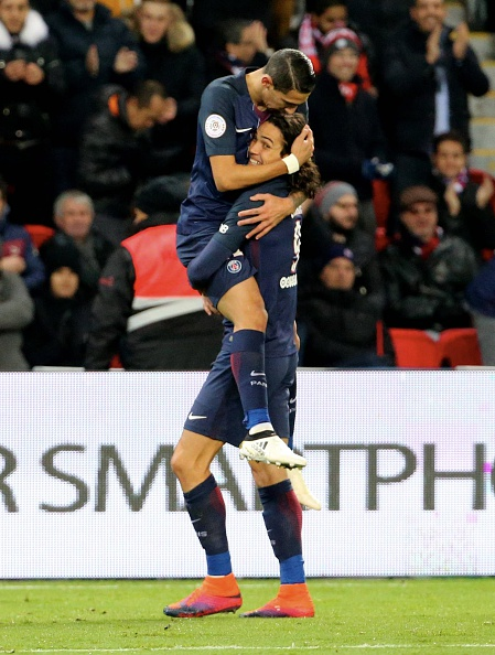 Cavani and Di Maria have been instrumental to everything positive that PSG have done this season. (Photo by FRANCK FIFE/AFP/Getty Images)