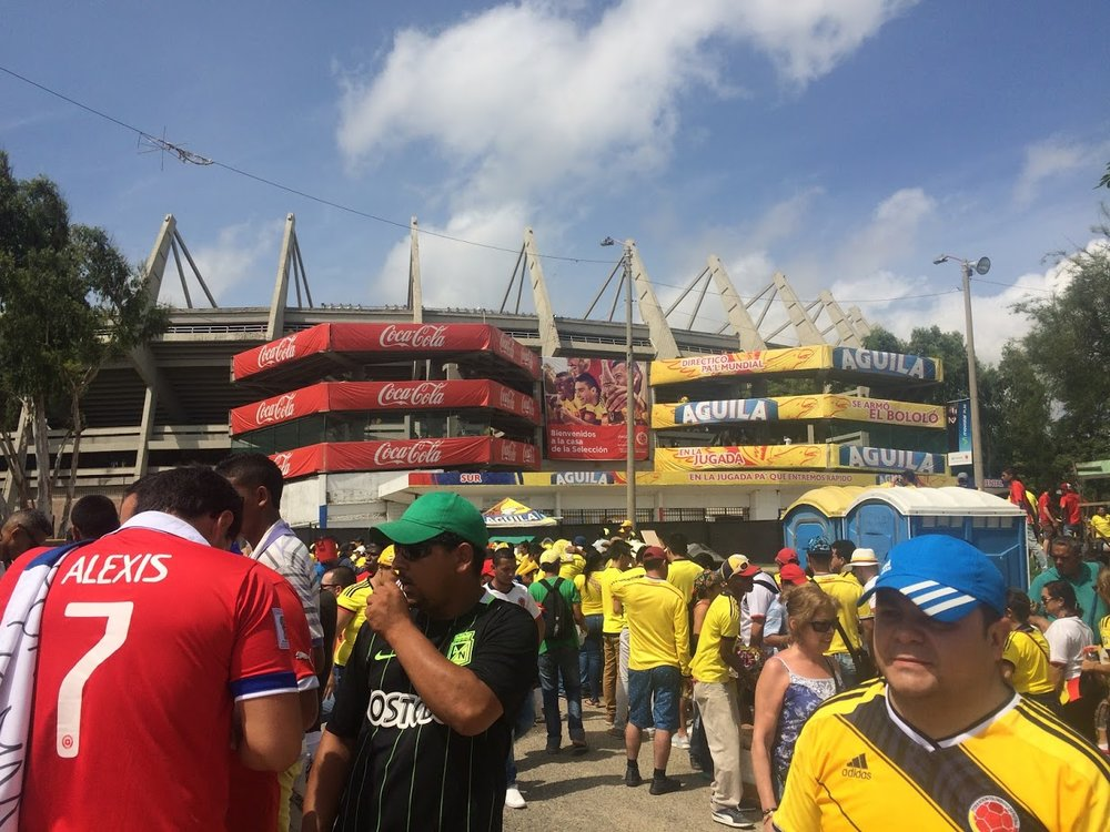 The atmosphere outside the stadium was buzzing with fans from both competing nations.