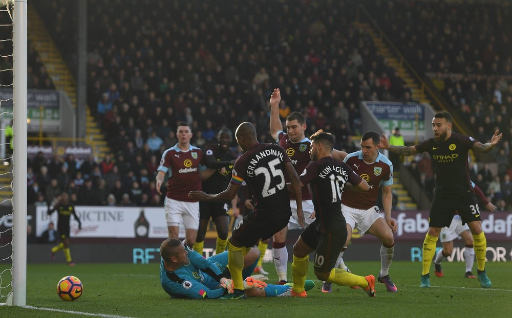 Aguero scores to give City the pivotal win. (Photo by Gareth Copley/Getty Images)