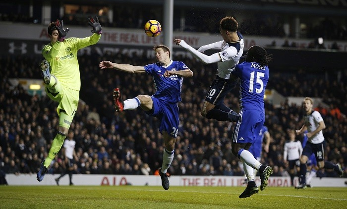 Dele Alli rose above the rest to nod in both of Spurs' goals against 1st-place Chelsea. PHOTO CREDIT: REUTERS.