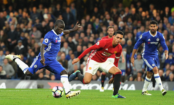 Kante delivers the cherry on top of the pie against United. (Photo by Darren Walsh/Getty Images)