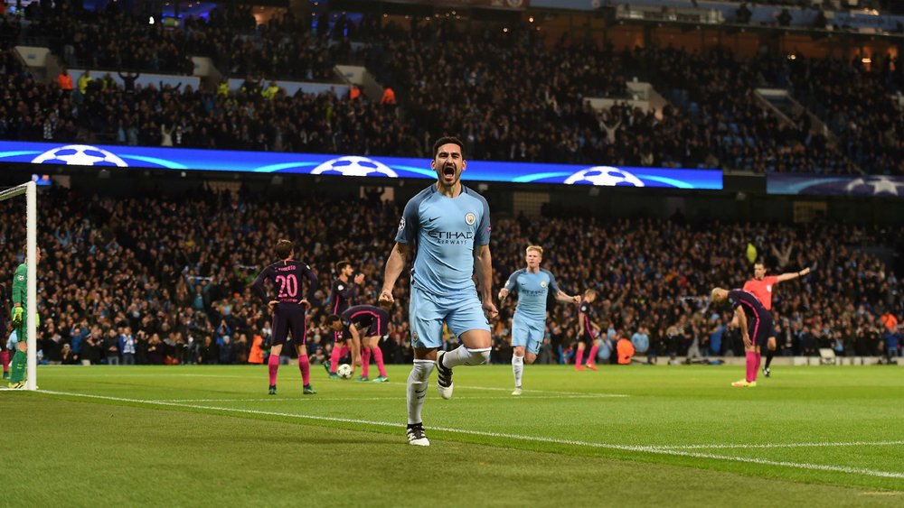 Ilkay Gundogan after scoring in City's 3-1 victory over Barcelona in the Champions League. (Photo via Getty Images)