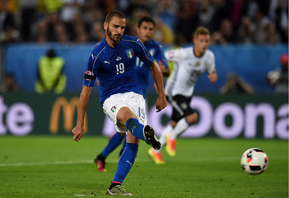 Bonucci calmly converts a spot-kick during Italy's quarter-final game vs. Germany. (Photo by Claudio Villa/Getty Images)