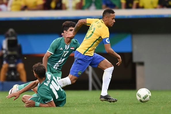 Neymar has looked off-pace in the Olympics. Note to self: don't party too much with Justin Bieber. (Photo by Ricardo Botelho/Brazil Photo Press/LatinContent/Getty Images)