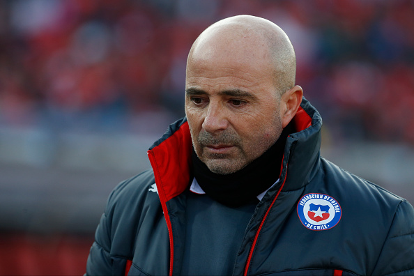 SANTIAGO, CHILE - JULY 04: Jorge Sampaoli, coach of Chile, looks on during the 2015 Copa America Chile Final match between Chile and Argentina at Nacional Stadium on July 04, 2015 in Santiago, Chile. (Photo by Gabriel Rossi/LatinContent/Getty Images)