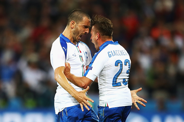 Bonucci, left, made us forget Italy were without Andrea Pirlo with his assist for Giaccherini. (Photo by Michael Steele/Getty Images)