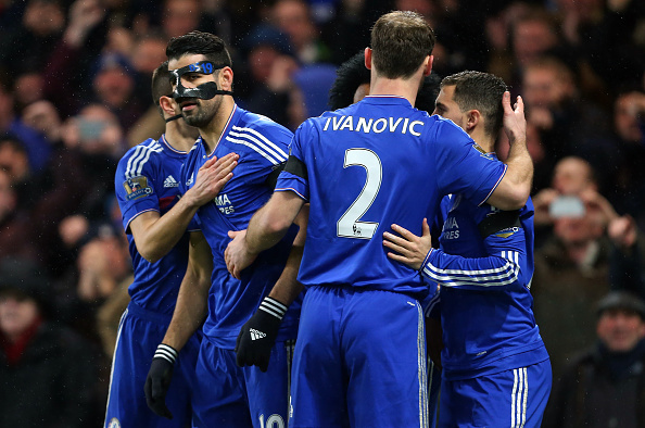 LONDON, ENGLAND - FEBRUARY 13 : Diego Costa of Chelsea is congratulated after he scores to make it 1-0 during the Barclays Premier League match between Chelsea and Newcastle United at Stamford Bridge on February 13, 2016 in London, England. (Photo by Catherine Ivill - AMA/Getty Images)