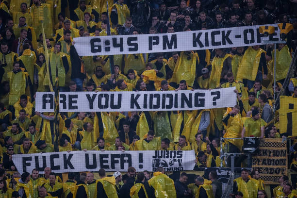 Dortmund fans were understandably discontent with the limited time they and the club were afforded to recover from the traumatizing situation. (Photo by Maja Hitij/Bongarts/Getty Images)