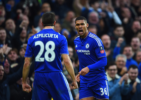 LONDON, ENGLAND - JANUARY 10: Ruben Loftus-Cheek of Chelsea (36) celebrates with Cesar Azpilicueta (28) as he scores their second goal during the Emirates FA Cup third round match between Chelsea and Scunthorpe United at Stamford Bridge on January 10, 2016 in London, England. (Photo by Shaun Botterill/Getty Images)