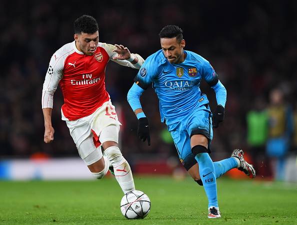 Oxlade-Chamberlain, pictured on the--you know what? Use some common sense, will have a heftier price tag should he decide to leave Arsenal for another Premier League club rather than abroad. (Photo by Shaun Botterill/Getty Images)