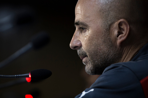 SANTIAGO, CHILE - JULY 03: Jorge Sampaoli coach of Chile looks on during a press conference at Nacional Stadium on July 03, 2015 in Santiago, Chile. Chile will face Argentina in the final match as part of 2015 Copa America Chile on July 04. (Photo by Miguel Tovar/LatinContent/Getty Images)