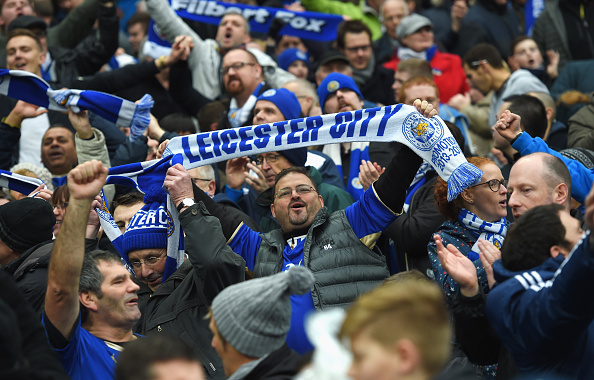 Leicester City's supporters celebrate their side's goal.(Photo by Michael Regan/Getty Images)