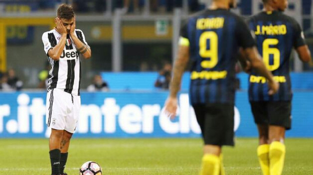 Dybala cannot believe himself when Inter score what'd prove to be the winner in the Derby d'Italia. (Photo via Getty Images)